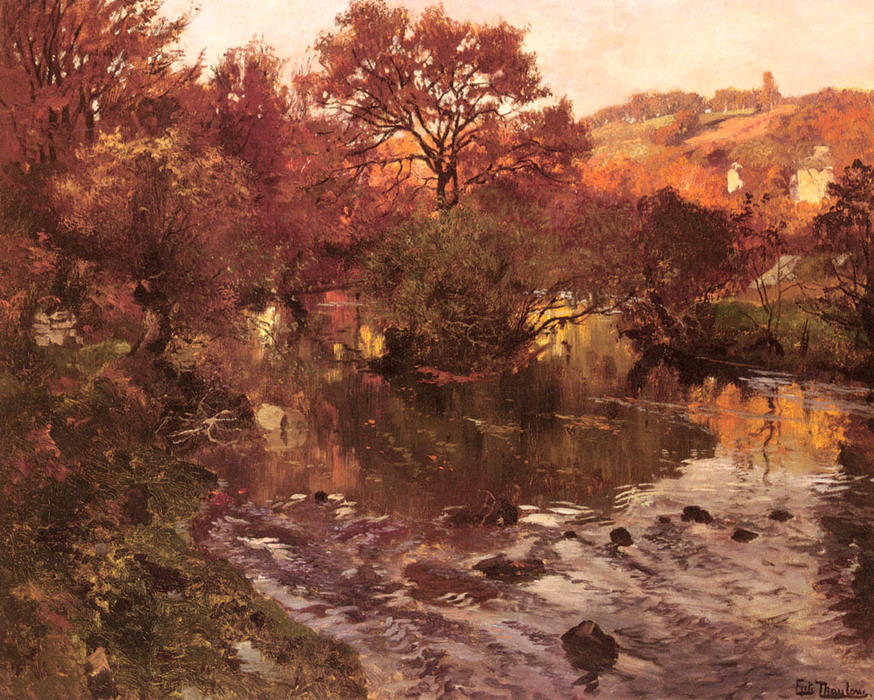 famous painting Golden Autumn, Brittany of Frits Thaulow