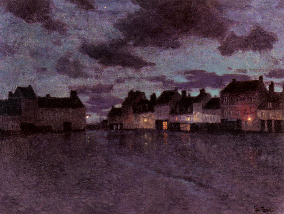 famous painting Marketplace in France, after a Rainstorm of Frits Thaulow