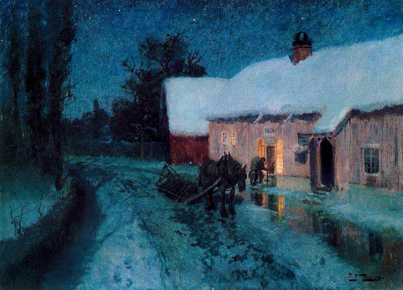 famous painting Night of Frits Thaulow