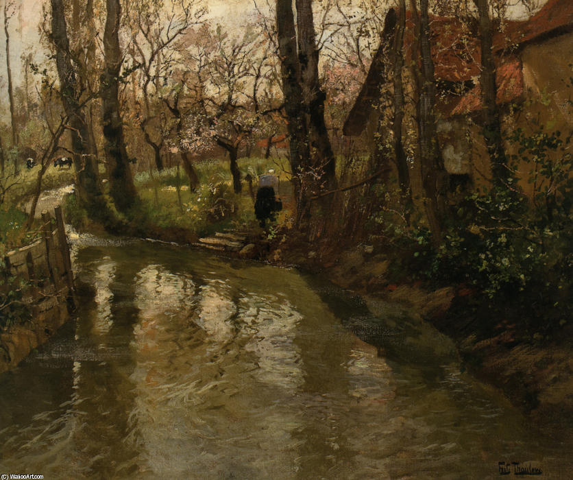 famous painting Stream through a Village of Frits Thaulow