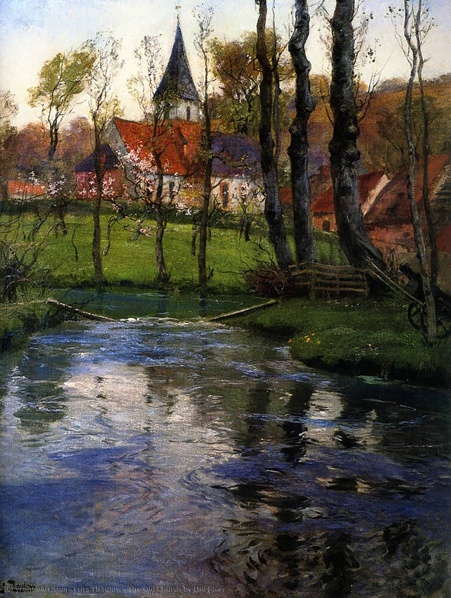 famous painting The Old Church by the River of Frits Thaulow