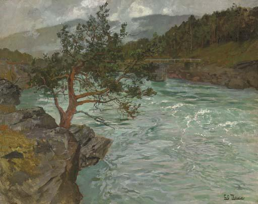 famous painting The River Otta, Norway of Frits Thaulow