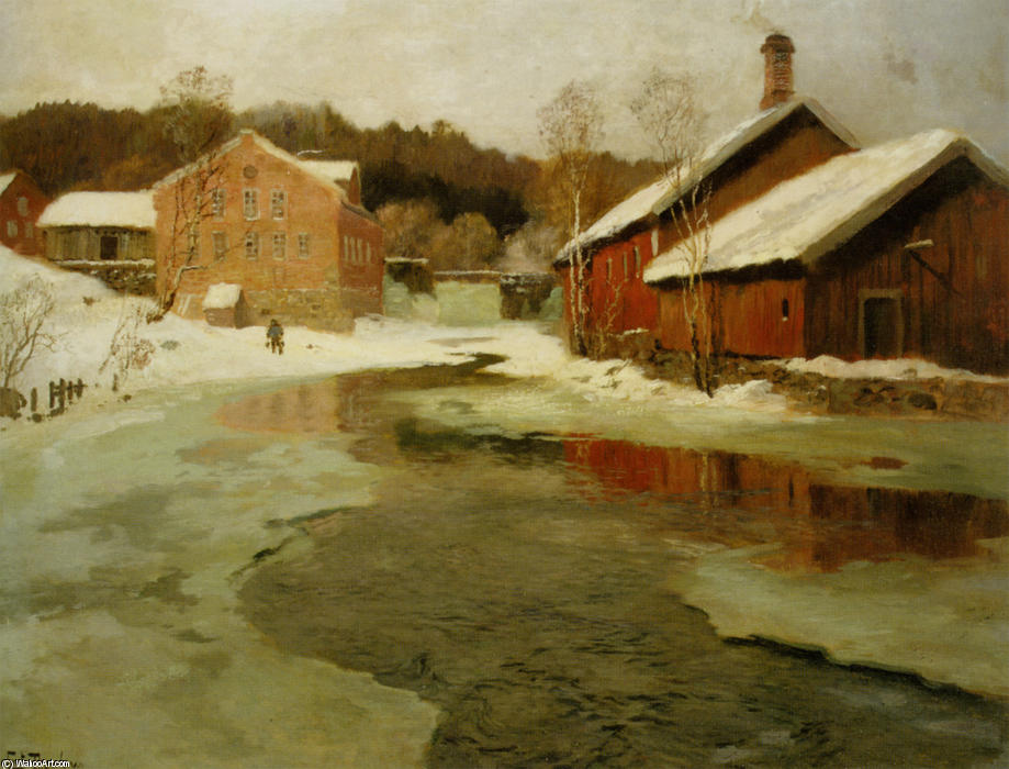 famous painting Vintersol of Frits Thaulow
