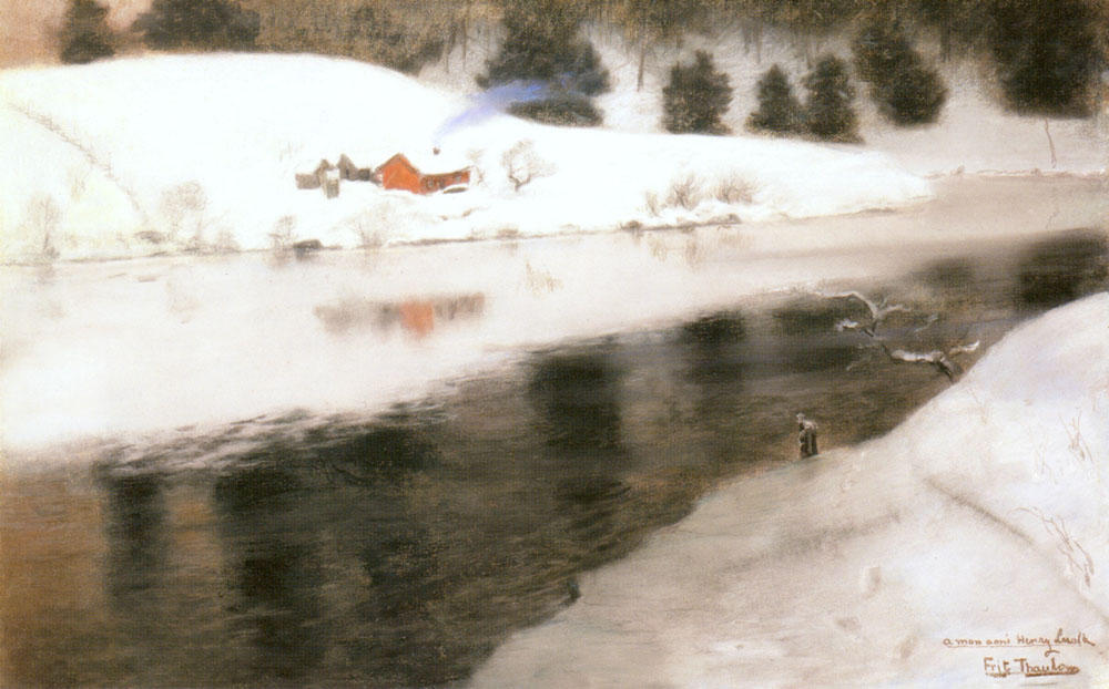 famous painting Winter at Simoa River of Frits Thaulow