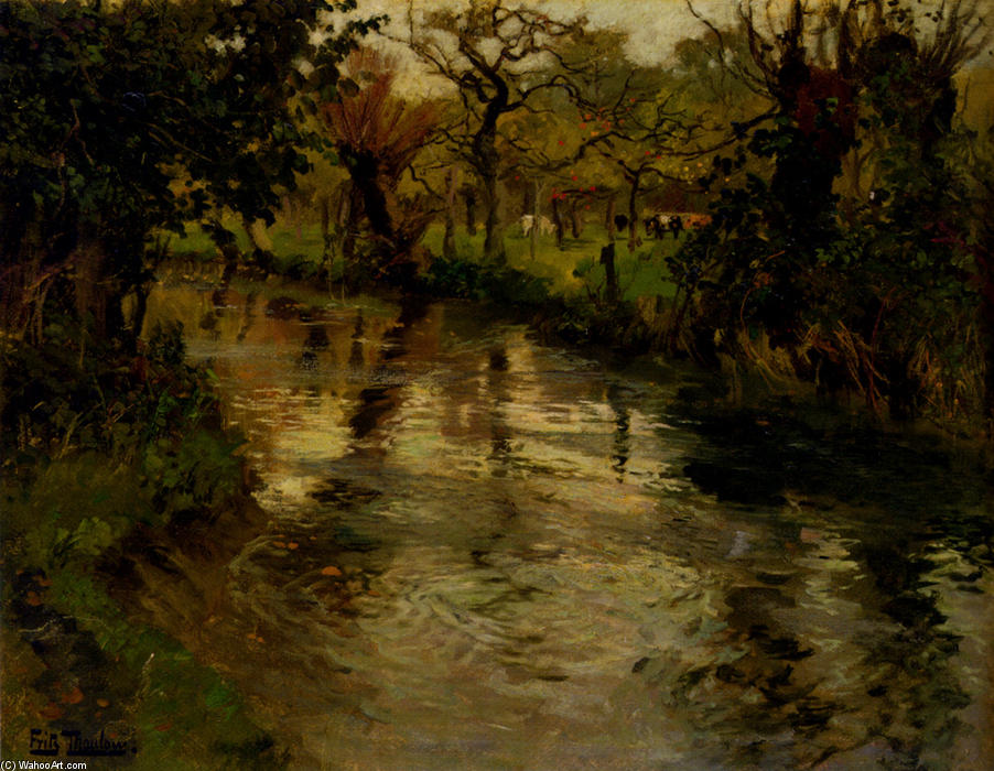 famous painting Woodland Scene With A River of Frits Thaulow