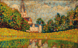 Georges Lemmen - Landscape with the church of Dadizeele in the distance