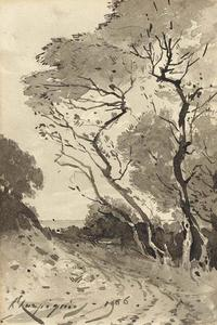 Henri-Joseph Harpignies - A tree-lined road overlooking the sea