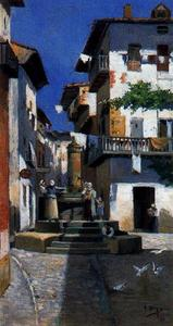 Ignacio Díaz Olano - Corner of the village with people