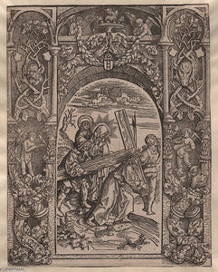 Jacob Cornelisz Van Oostsanen - Calvary with ornamental frame