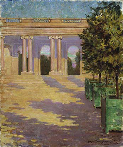 famous painting Arcade of the Grand Trianon, Versailles of James Carroll Beckwith