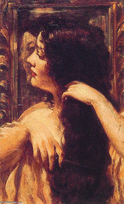 famous painting Brunette Combing Her Hair of James Carroll Beckwith