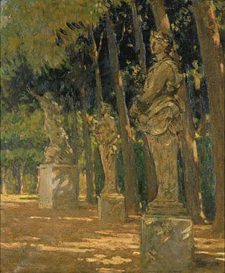 famous painting Carrefour at the End of the Tapis Vert, Versailles of James Carroll Beckwith