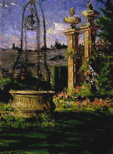 famous painting In the Gardens of the Villa Palmieri of James Carroll Beckwith