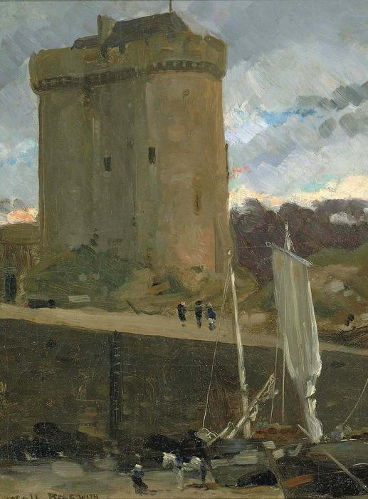 famous painting La Tour de Solidor at St. Severin, Normandy of James Carroll Beckwith