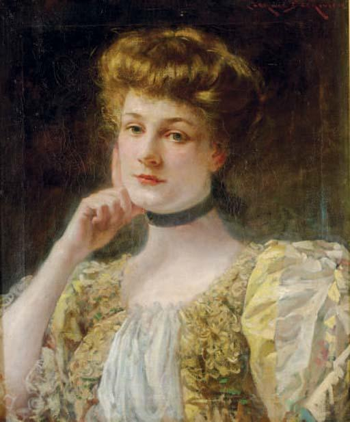 famous painting Portrait of a pensive lady of James Carroll Beckwith