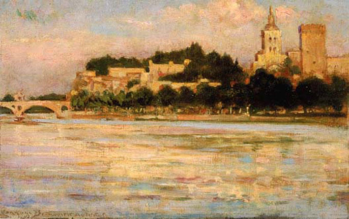 famous painting The Palace of the Popes and Pont d'Avignon of James Carroll Beckwith