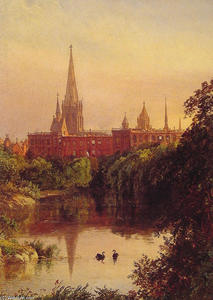 Jasper Francis Cropsey - A View in Central Park ­ The Spire of Dr. Hall's Church in the Distance