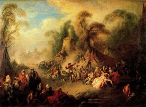Jean-Baptiste Pater - A Country Festival with Soldiers Rejoicing