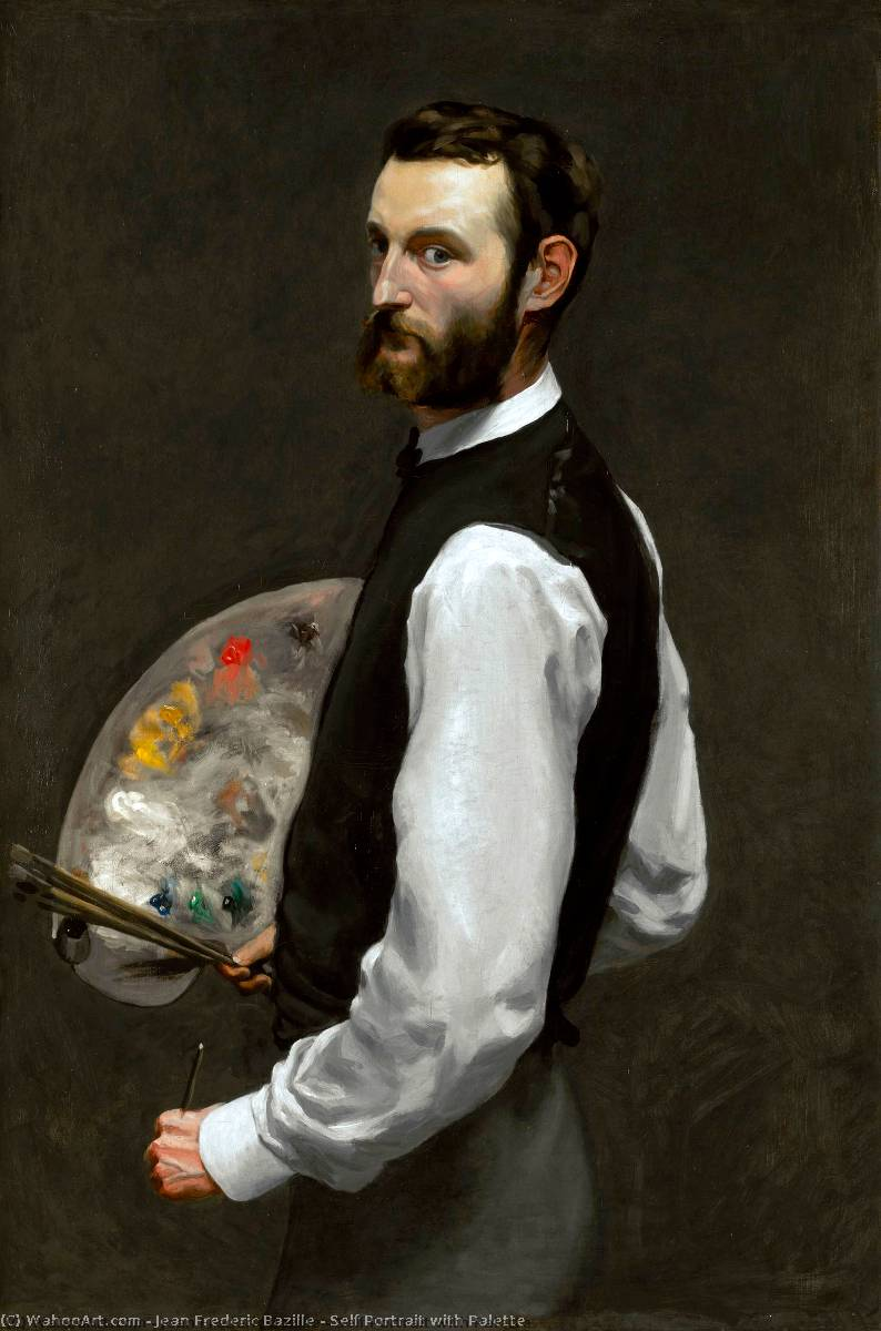 famous painting Self Portrait with Palette of Jean Frederic Bazille