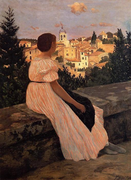 famous painting The Pink Dress of Jean Frederic Bazille