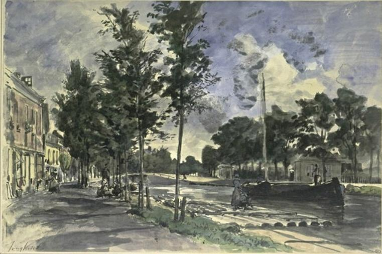 famous painting A barge on a canal of Johan Barthold Jongkind