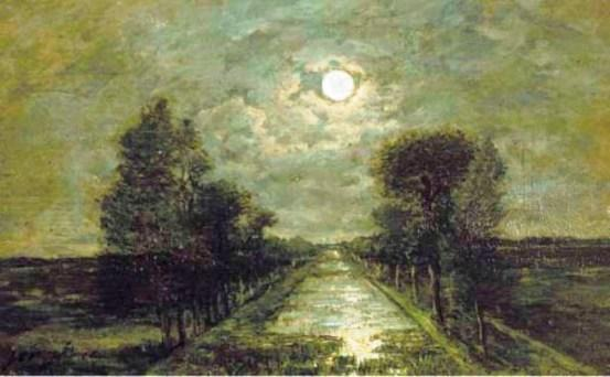 famous painting A canal under moonlight of Johan Barthold Jongkind