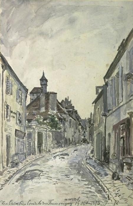 famous painting A street in Nevers of Johan Barthold Jongkind
