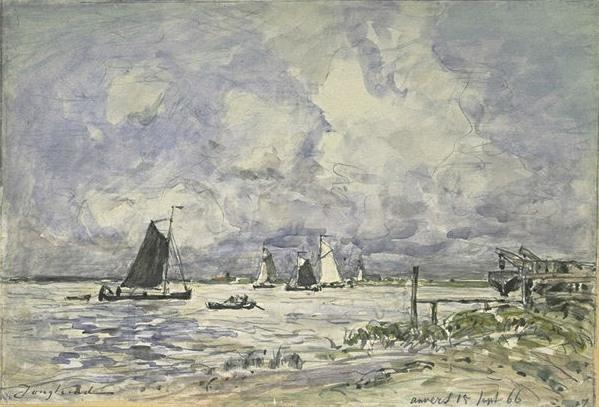 famous painting A thrust on the Scheldt of Johan Barthold Jongkind