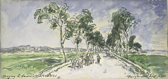 famous painting A tree-lined road at Magny, near Nevers of Johan Barthold Jongkind