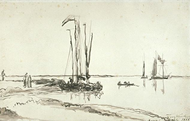 famous painting Boats at the mouth of the Scheldt of Johan Barthold Jongkind
