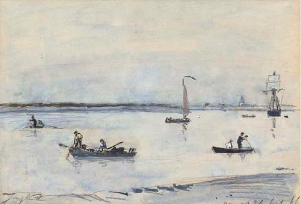 famous painting Boats on an estuary, Antwerp of Johan Barthold Jongkind