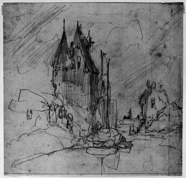 famous painting Castle and river of Johan Barthold Jongkind