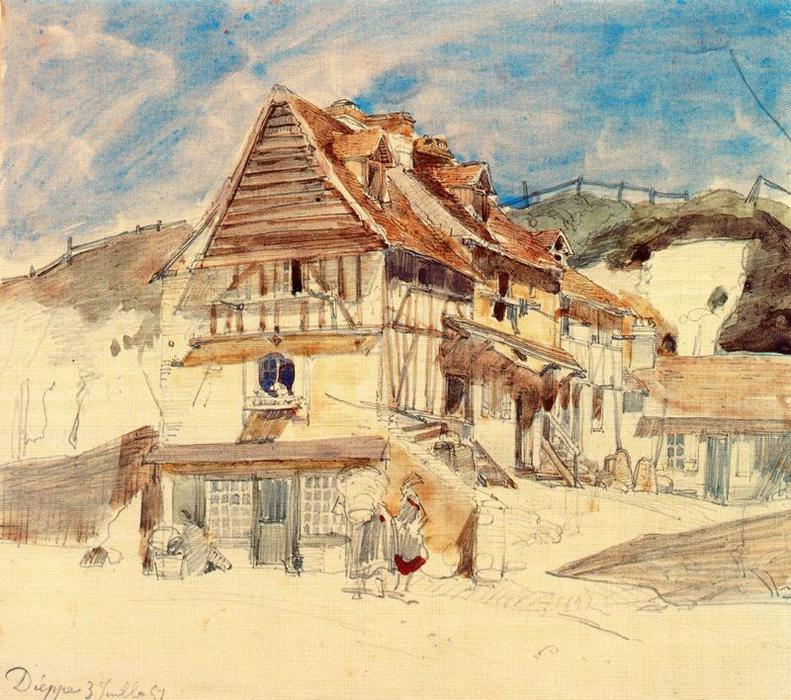 famous painting Cottage in Dieppe of Johan Barthold Jongkind