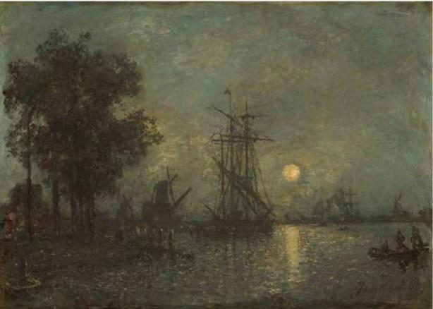 famous painting Dutch landscape with boat dock of Johan Barthold Jongkind