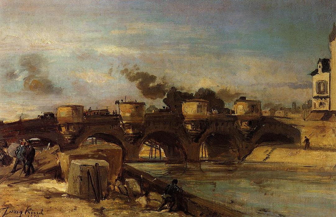 famous painting Fire on Pont Neuf of Johan Barthold Jongkind