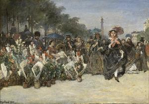 Johan Barthold Jongkind - Flower Market on the Boulevard Richard-Lenoir