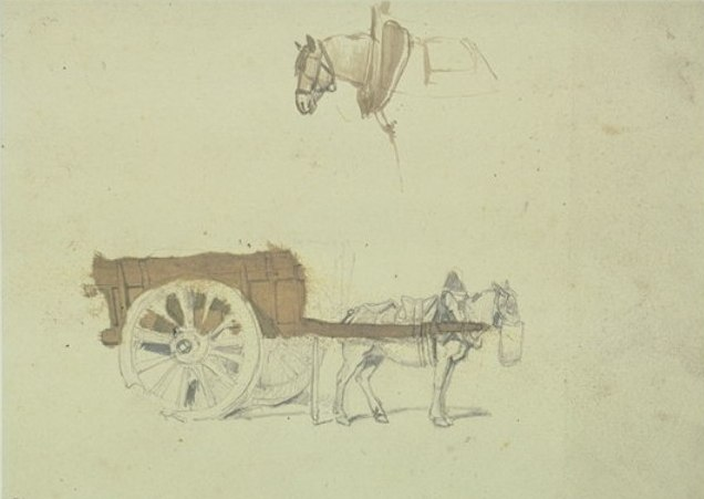 famous painting Horse harnessed to a cart, horse drawn of Johan Barthold Jongkind