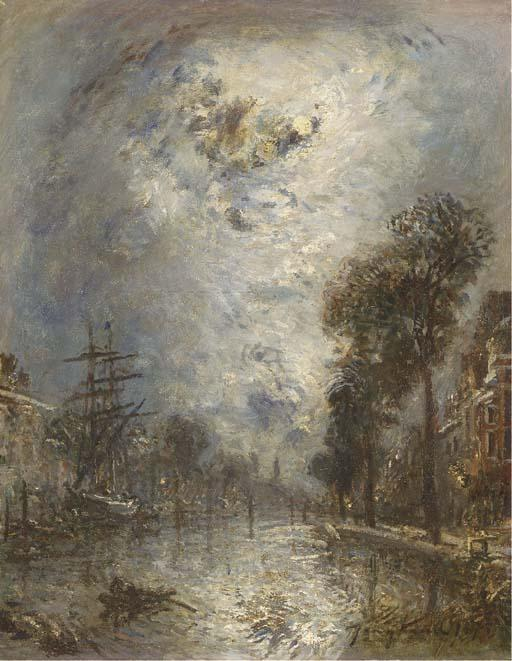 famous painting Inside the port in Rotterdam, the effect of moon of Johan Barthold Jongkind