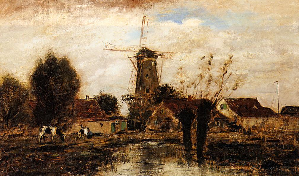 famous painting Landscape with Windmill of Johan Barthold Jongkind