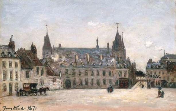 famous painting Market Square-au-Wheat and the Ducal Palace, Nevers of Johan Barthold Jongkind