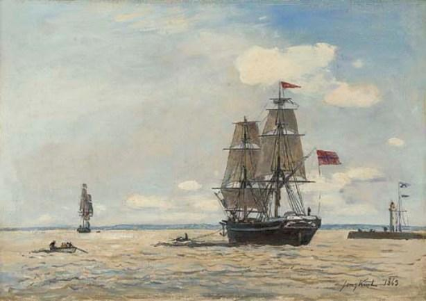 famous painting Norwegian ship leaving the port of Honfleur of Johan Barthold Jongkind