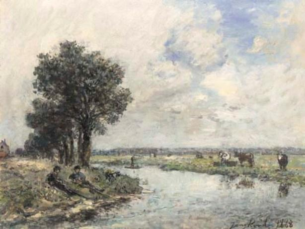 famous painting On the riverbank of Johan Barthold Jongkind