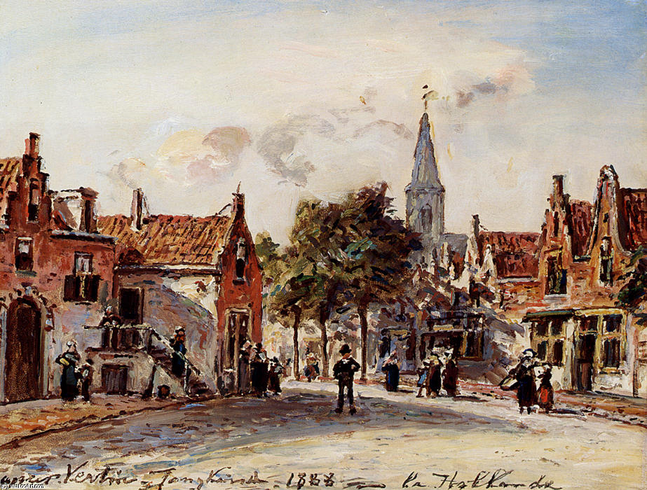 famous painting Rue De Village, Hollande of Johan Barthold Jongkind