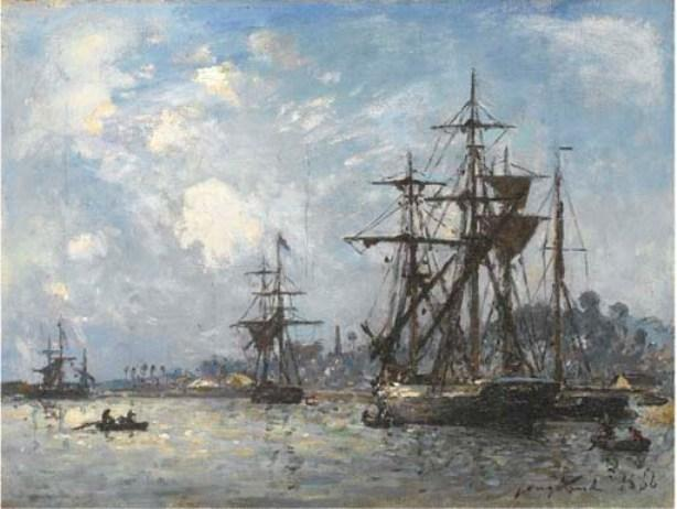 famous painting Sailing boats in Honfleur of Johan Barthold Jongkind