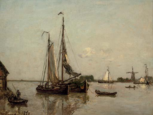 famous painting Sailing on a sunny day of Johan Barthold Jongkind