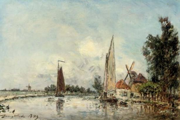 famous painting Sailing on the Schie near Rotterdam of Johan Barthold Jongkind