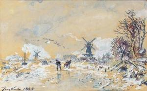 Johan Barthold Jongkind - Skating Scene in Holland