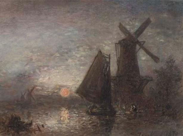 famous painting Sunset along the Schie of Johan Barthold Jongkind