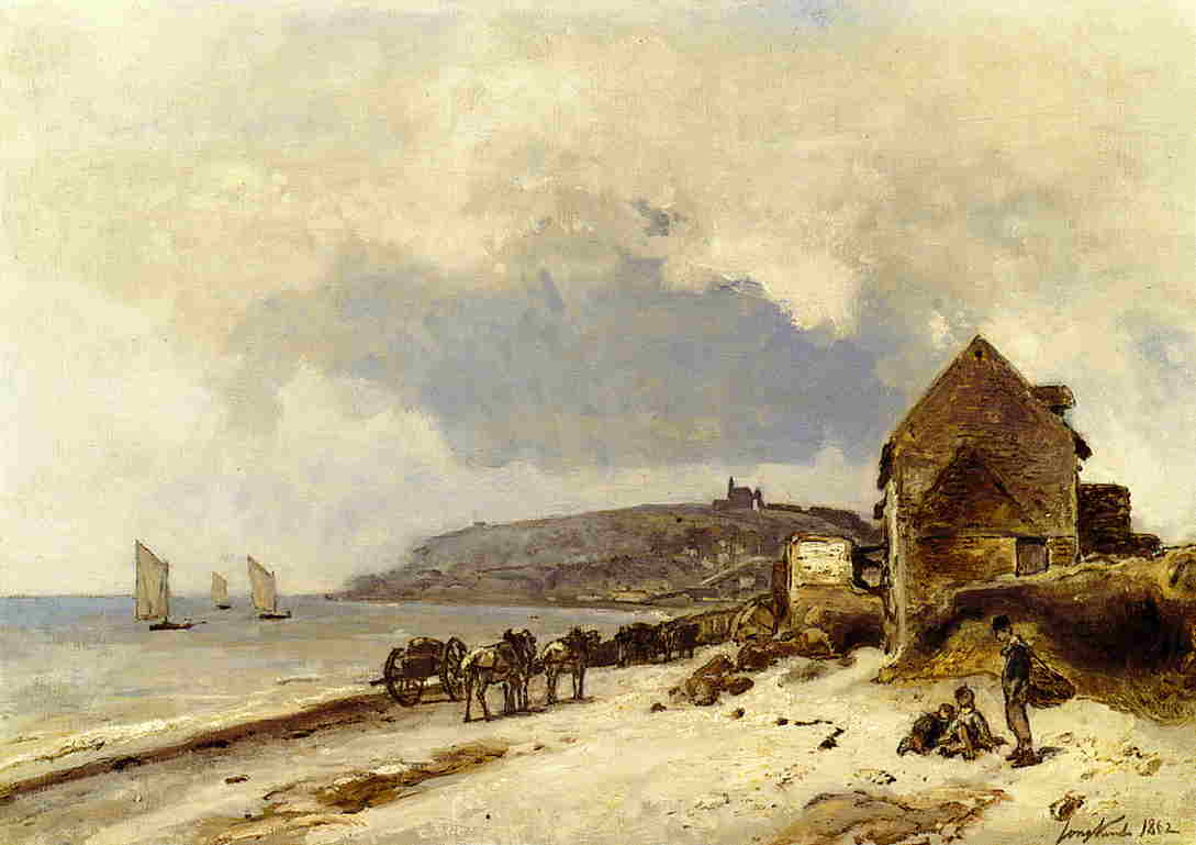 famous painting The Beach at Sainte-Adresse of Johan Barthold Jongkind