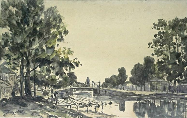 famous painting The bridge over the canal of Johan Barthold Jongkind